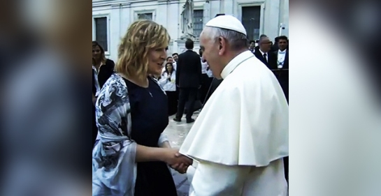Darlene shakes hands with 'Jesus'.