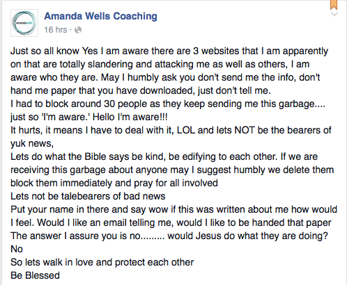 Amanda Wells telling post