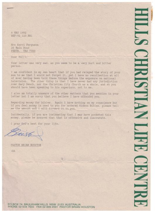 Brian Houston Hillsong Letter to Kerri