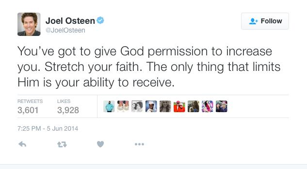 Joel Osteen Tweet