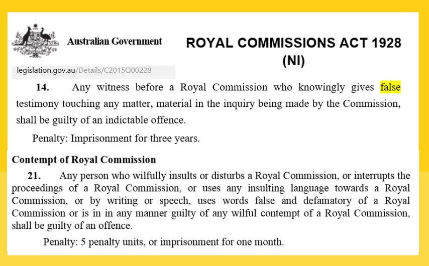 RoyalCommission-Legislation-Penalty-for-False-Testimony-Contempt